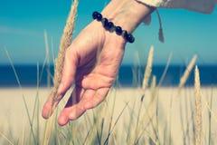 Die Hand der Frau, die durch Dünengras am sonnigen Tag schiebt Stockbilder