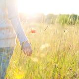 Die Hand der Frau, die eine Mohnblume hält Lizenzfreies Stockbild