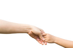 Die Hand der Frau hält sorgfältig Mädchen lizenzfreie stockbilder