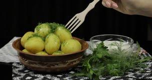 Die Hand der Frau nimmt gekochte neue k?stliche Kartoffel unter Verwendung der h?lzernen Gabel stockbild