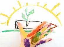 Die Hand des Kindes Stockbild