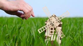 Die Hand des Mannes berührt die Blätter einer Spielzeugmühle Landwirtschaft, pflanzliche Erzeugung, bewirtschaftend stock video