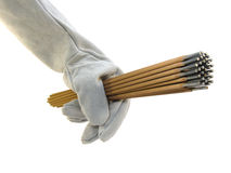 Die Hand des Schweißers. Lizenzfreie Stockfotos