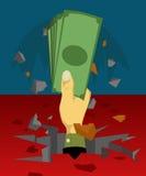 Die Hand, die das Geld plötzlich aus dem Boden heraus hielt Stockfotografie
