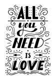 Die Hand, die gezeichnet wird, alle beschriftend, die Sie benötigen, ist Liebe Lizenzfreie Stockbilder