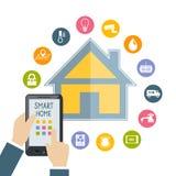 Die Hand, die Handy hält, steuert intelligentes Haus Stockfotos