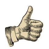 Die Hand, die Symbol zeigt, mögen Herstellung des Daumens herauf Geste Vector schwarze Weinlese gravierte Illustration auf einem  Stockbilder