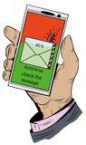Die Hand hält das Telefon mit der ankommenden Textnachricht Lizenzfreies Stockfoto