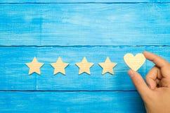Die Hand setzt das Herz zu den vier Sternen Wahl von Käufern Universalanerkennung und Bewunderung Bewertung eines Hotels oder des lizenzfreies stockbild