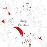 Die Hand, die von nette Tiere gezeichnet wird, feiern Weihnachten lizenzfreie abbildung