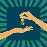 Die Hand, welche die Schlüsselkette anhält, ist der Verkäufer, oder der Inhaber und der Arm, welche die Haustaste empfangen, ist  vektor abbildung