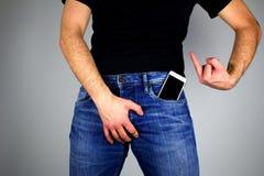 Die Handystrahlung schädigt männliche Ergiebigkeit Geben Sie acht Lizenzfreies Stockbild
