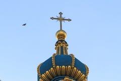 Die Haube der Kirche und des Fliegens kräht lizenzfreies stockbild