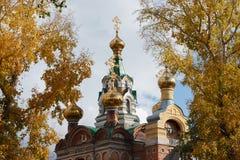 Die Hauben der Kirche auf Hintergrund des Laubs stockfoto