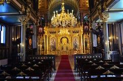 Die Hauptgebetshalle mit einem Altar in Kirche St. Stephen Bulgrian in der Istanbul-alias Eisen-Kirche, breite Szene schoss lizenzfreie stockfotos