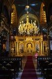 Die Hauptgebetshalle mit einem Altar in Kirche St. Stephen Bulgrian in der Istanbul-alias Eisen-Kirche lizenzfreie stockfotografie