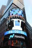 Die Hauptsitze der Börse NASDAQs, der zweitgrösste Handelsmarkt in der Welt im Times Square stockbild