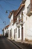 Die Hauptstadt von Bolivien - Sucre hat ein reiches Kolonialerbe, offensichtlich in seinen Gebäuden, in Street-scapes und in zahl lizenzfreies stockbild