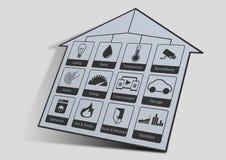 Die Hausautomationsikonenillustration, zum eines intelligenten Hauses zu steuern mögen beleuchten, Wasser, Überwachungskameras, E Stockfotos