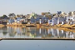 Die heilige Brahman- Stadt und der See, Pushkar, Rajasthan, Indien Lizenzfreies Stockbild