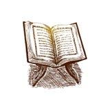 Die Heilige Schrift des Korans auf dem Stand, Hand gezeichnete Skizzen-Vektorillustration Stockfoto