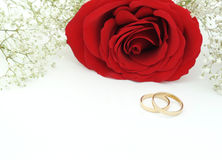 Die Heirat laden mit Rosafarbenem und Ringen ein Lizenzfreie Stockfotografie