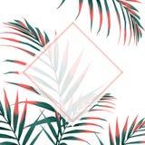 Die Heiratseinladung, mit Blumen laden danken Ihnen ein, rsvp modernem Karte Entwurf mit den orange tropischen dekorativen Palmbl stock abbildung