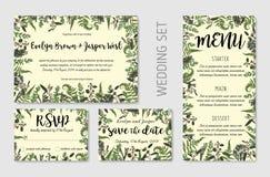 Die Heiratseinladung, mit Blumen laden ein, danke, rsvp Karte Entwurf Eukalyptus, Waldfarn, Kräuter, Eukalyptus, Niederlassungsbu stock abbildung