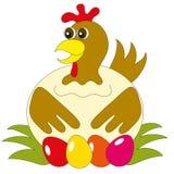 Die Henne mit Eiern Stock Abbildung