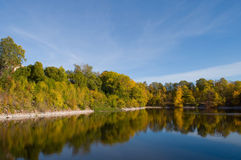 Die Herbstbäume reflektiert im Wasser Stockbilder