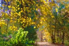 Die Herbstgasse, die durch die Sonne beleuchtet wurde, stilisierte Impressionismus Stockfoto