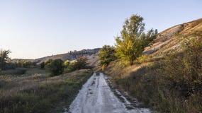 Die Herbstsonne belichtet eine Landstraße durch die Einstellungsstrahlen lizenzfreies stockbild