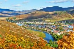 Die Herbsttalstadt Lizenzfreies Stockbild