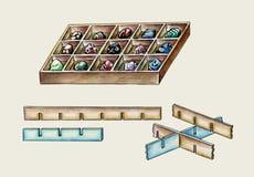 Die Herstellung des Kastens für Mineralsammlung veranschaulichte Anweisungshandbuch stockfotografie