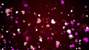 Die Herz-Hintergründe winken die Grafiken zu, die Valentine's-Tag kennzeichnen, belebten Formen und Partikel schlingen sich lizenzfreie abbildung