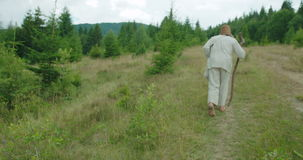 Die hintere Ansicht des alten Mannes in der alten Kleidung geht entlang die Berge mithilfe seines Stocks stock footage