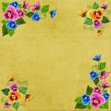 Die Hintergrund Blumenecken auf einem alten Segeltuch sind für Kreativität passend Stockfoto