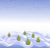 Die Hintergrundlandschaft mit Weihnachtsbäumen und Schneeflocken Abbildung des Vektor EPS10 Lizenzfreie Stockbilder