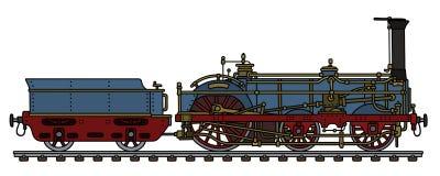 Die historische blaue Lokomotive Stockfoto