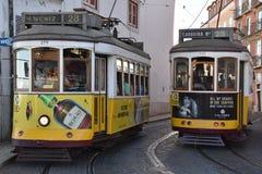 Die historische Tram 28 in Lissabon, Portugal Lizenzfreies Stockfoto