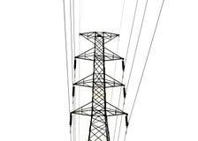 Die Hochspannungsfernleitungen lokalisiert auf weißem Hintergrund Lizenzfreies Stockfoto