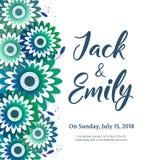 Die Hochzeits-Einladung, mit Blumen laden Karte Design ein lizenzfreie stockbilder