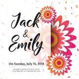 Die Hochzeits-Einladung, mit Blumen laden Karte Design ein lizenzfreie stockfotos