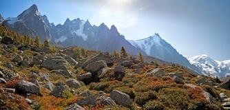 Die hohen Spitzen des Chamonix Tales und des Mont Blanc Massifs im Dorf von Chamonix in Frankreich lizenzfreies stockbild