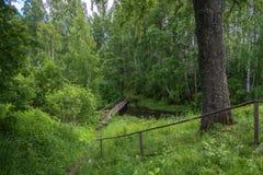 Die Holzbrücke, die zu den heiligen Frühling von Mary Magdalene führt Lizenzfreies Stockbild