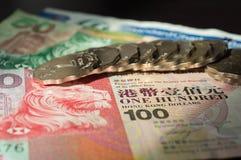 Die Hong Kong-Dollar und -münzen Stockfotos