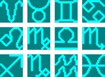 Die Horoskopzeichen leuchten auf dem Schirm Vektor Abbildung