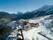 Die Hotels in den Bergen in Sochi stockbilder