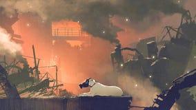 Die Hundetragende Gasmaske, die in der Stadt sitzt stockbild