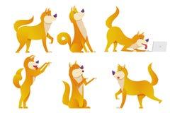 Die Hundezeichentrickfilm-figuren eingestellte Vektorillustration Die gelben Hunde in den verschiedenen Haltungen vector flaches  Stockfoto